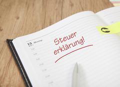 Calendar tax declaration Stock Photos