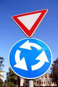 Close up of colorful traffic street signs - stock photo