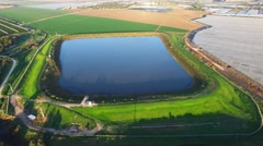 Aerial footage of a water reservoir Stock Footage