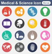 Medical and Science icon(test tube , drug , DNA , light bulb , note book , sk Stock Illustration