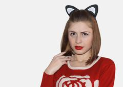 girl with black cat ears - stock photo