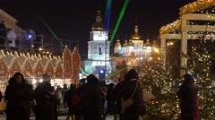 People at Christmas Fair Sophia Square Kiev Photographers Are Taking - stock footage
