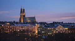 Högalid Church Stockholm Winter time-lapse Stock Footage