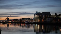 City center and river Liffey with Samuel Beckett Bridge during sunset Stock Footage