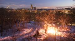 Winter time-lapse bon-fire Hornstull Stockholm Stock Footage