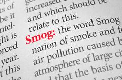 Definition of the word Smog in a dictionary Stock Photos