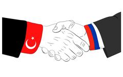 Russia and Turkey friendship - stock illustration