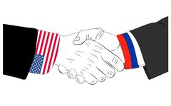 Russia-USA-friendship - stock illustration