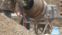Working cement mixer Stock Footage