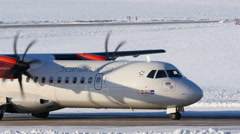 Propeller airliner taxiing, waiting, 4k Stock Footage