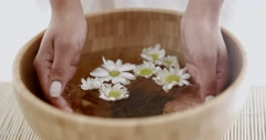 Female Hands With Bowl Of Aroma Water - stock footage
