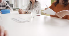 Female executive handing over partnership agreement Businessman signing contract Stock Footage