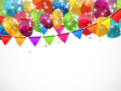 Color Glossy Balloons Background Vector Illustration - stock illustration