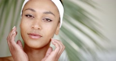Woman With Makeup Touching Her Face Stock Footage