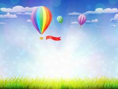 Hot air balloons over grass field Stock Illustration