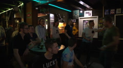 dart pub The Entertainer where Raymond van Barneveld started his career - stock footage