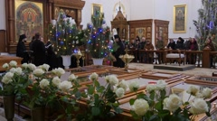 People and Clergy Christmas Holy Mountain Lavra Dormition Cathedral Ukraine Men - stock footage