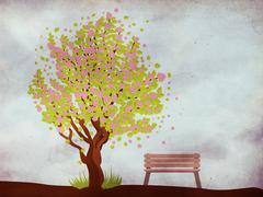 Sakura and bench on grunge background Stock Illustration