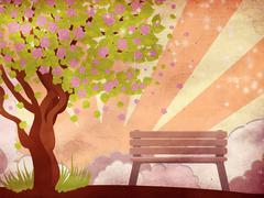 Stock Illustration of Sakura and bench on grunge background
