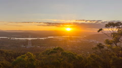 Time lapse of sunset over Canberra city, Australia. Stock Footage