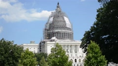 United States Capitol Building Under Construction Stock Footage