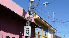 Electricity wires in the streets of Granada - stock footage