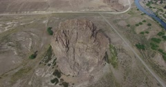 Aerial drone scene of the detail of the standing rock in the region of Patagonia Stock Footage
