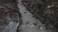 Waste water to small river. Stock Footage