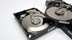 Disassembled hard drives Stock Footage