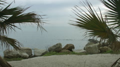 Beautiful view of rippling lagoon through exotic palm trees. Seaside recreation Stock Footage