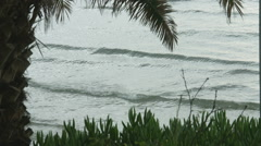 Stormy sea waves splashing on exotic beach with tropical plants. Popular resort Stock Footage