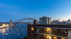 Sunset at Sydney Harbour Bridge, Australia. Time lapse. - stock footage
