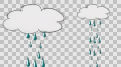 Hand Drawn Cartoon of a Single Raining Cloud in Alpha Channel Stock Footage