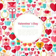 Flat Valentines Day Vector Background Stock Illustration