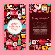 Stock Illustration of Flyer Template of Flat Happy Valentine Day Objects and Elements