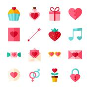 Valentine Day Flat Objects Set isolated over White Stock Illustration