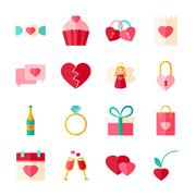 Valentines Day Flat Objects Set isolated over White Stock Illustration