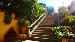 Stock Photo of Brown concrete stair in city garden
