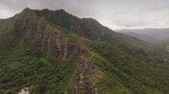 Aerial Oahu Ahupua'a O Kahana State Park Stock Footage