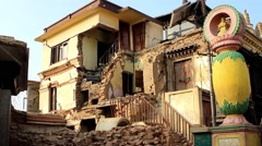 Destroyed building on the Swayambhunath stupa (Monkey Temple) Stock Footage
