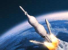 Space Launch System Solid Rocket Boosters Separation Stock Photos