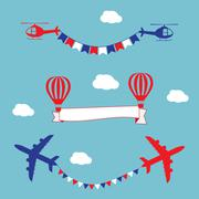 Plane, air balloons and helicopters flying with advertising banner and flags Piirros