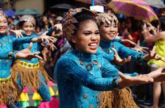 Street Cultural Blue Dancers - stock photo