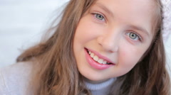 Young girl with beautiful eyes, unearthly beauty Stock Footage