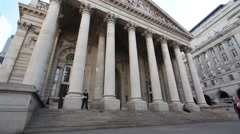 Royal Exchange London, wide angle static shot Stock Footage