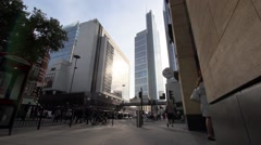 London Wall with Heron tower in centre. Low angle wide static shot Stock Footage