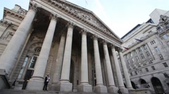 Royal exchange in London, wide angle, shot from low level, real time, on tripod Stock Footage
