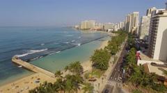 Aerial Oahu Waikiki Kahana Bay Beach Park. Honolulu Stock Footage
