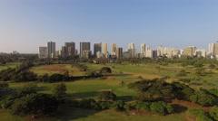 Aerial Oahu Waikiki Honolulu and Ala Wai Golf Course - stock footage