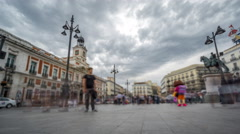 Timelapse view of Puerta del Sol with blurred tourists Stock Footage